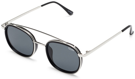 Quay Sunglasses Got It Covered Silver and Black, Smoke Lenses