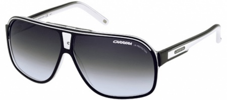 Grad Prix 2 Black and White Sunglasses with Grey Lenses