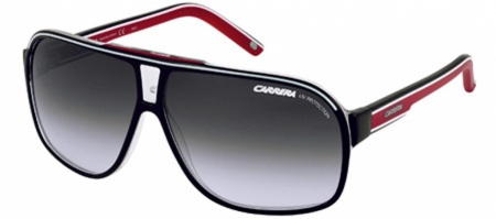 Grad Prix 2 Eyewear Black, White & Red with Grey Lenses
