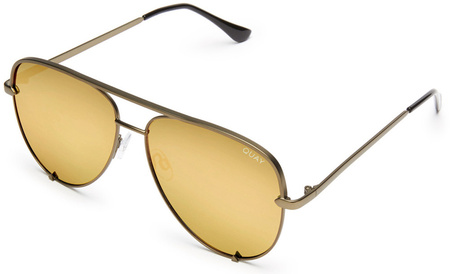 Quay Sunglasses High Key Green, Gold Mirror Lenses