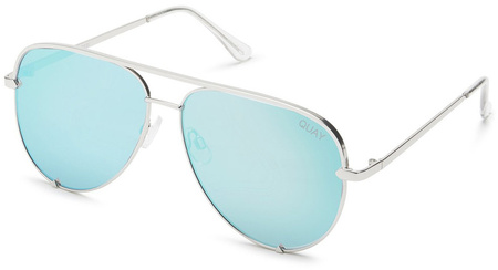 Quay Sunglasses High Key Silver, Blue Mirror Lenses