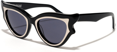 Epokhe Sunglasses Imogene Gloss Black and Silver, Black Lenses