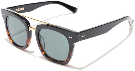 Epokhe Sunglasses Isay Black Tort, Gold, Green Lenses