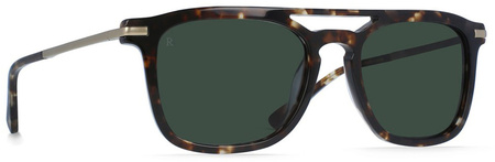Raen Kettner Sunglasses Brindle Tort, Green Lenses
