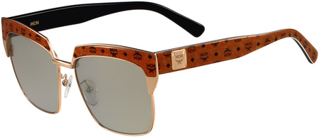 MCM 102s Sunglasses Shiny Rose Gold, Brown/Silver Lenses