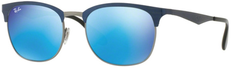 Ray Ban 3538 Sunglasses Top Blue on Gunmetal, Blue Mirror
