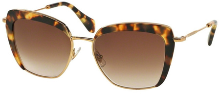 Miu Miu Sunglasses 52QS Gold Tort, Brown Gradient Lenses