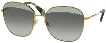 Miu Miu Sunglasses 53QS Gold Green Tort, Green Grey Lenses