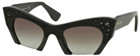 Miu Miu Sunglasses 02QS Gloss Black Crystals, Grey Gradient