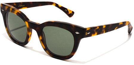 Epokhe Sunglasses Dylan Matte Dark Tort, Green Lenses