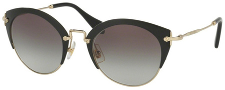 Miu Miu Sunglasses 53RS Black and Pale Gold, Grey Gradient