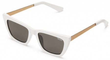 Quay Sunglasses Dont @ Me White, Smoke Lenses