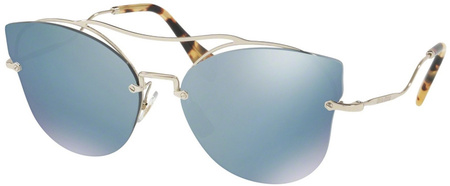 Miu Miu Sunglasses 52SS Pale Gold, Blue Mirror Lenses