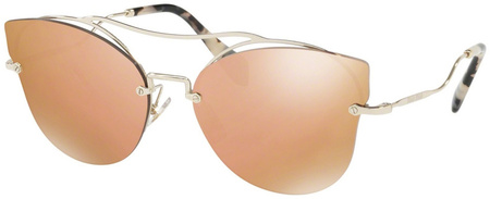 Miu Miu Sunglasses 52SS Pale Gold. Dark Brown Mirror Rose Gold